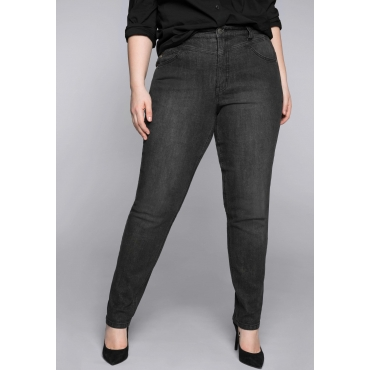 Schmale Stretch-Jeans KIRA mit Bodyforming-Effekt, black Denim, Gr.44-58