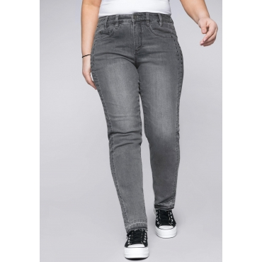 Schmale Stretch-Jeans Kira mit Fransen am Saum, grey Denim, Gr.44-58
