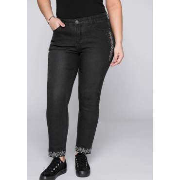 Schmale Stretch-Jeans Kira mit Glitzersteinen, black Denim, Gr.44-58