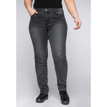 Schmale Stretch-Jeans KIRA mit Leoprint, black used Denim, Gr.44-58