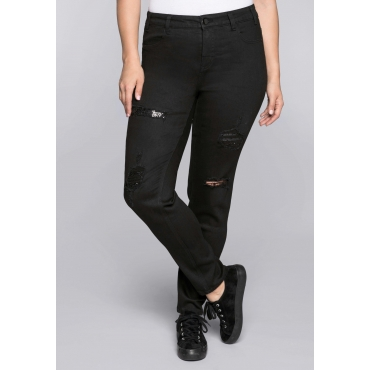 Schmale Stretch-Jeans Kira mit Pailletten, black Denim, Gr.44-58