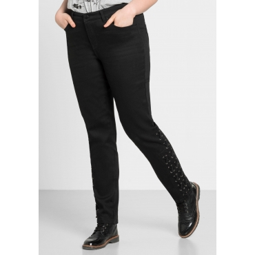 Schmale Stretch-Jeans KIRA mit Schnürung, black Denim, Gr.44-58