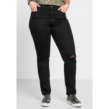 Schmale Stretch-Jeans mit Destroyed-Effekten, black Denim, Gr.40-58