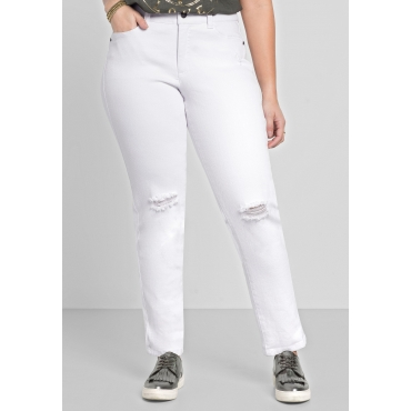 Schmale Stretch-Jeans mit Destroyed-Effekten, white Denim, Gr.40-58