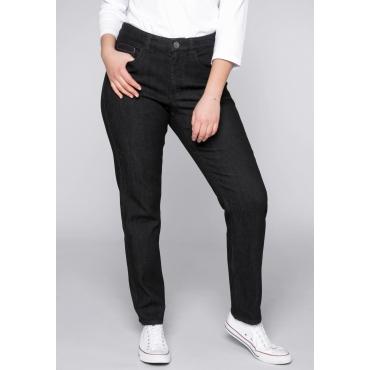 Schmale Stretch-Jeans mit Teilgummibund, black Denim, Gr.44-58