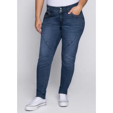Schmale Stretch-Jeans mit Teilungsnaht, dark blue Denim, Gr.44-58