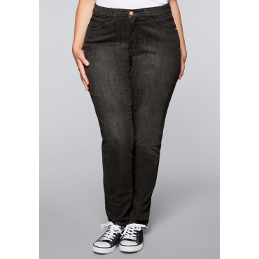 Schmale Stretch-Jeans VERENA, black Denim, Gr.22-104