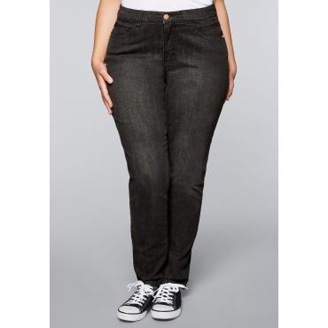 Schmale Stretch-Jeans VERENA, black Denim, Gr.22-104
