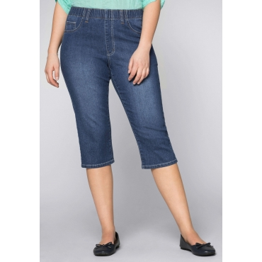 Schmale Stretch-Jeggings in Caprilänge, blue Denim, Gr.44-58