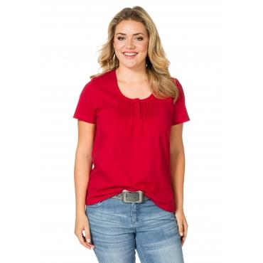 sheego Casual T-Shirt mit Biesen, rot, Gr.40/42-56/58