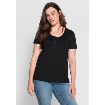 sheego Casual T-Shirt mit Biesen, schwarz, Gr.40/42-56/58
