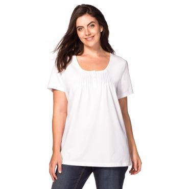 sheego Casual T-Shirt mit Biesen, weiß, Gr.40/42-56/58