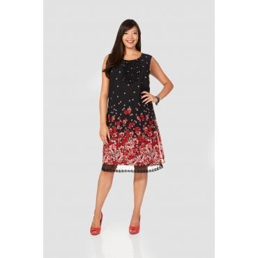 sheego Style Kleid mit Blütendruck, rot-schwarz, Gr.40-58