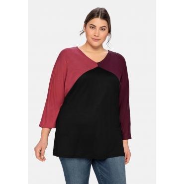 Shirt im Colourblocking, mit 3/4-Ärmel, dunkelrosa, Gr.40/42-56/58