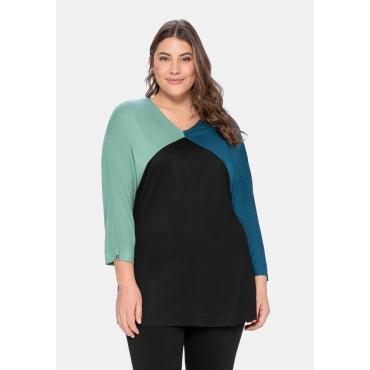 Shirt im Colourblocking, mit 3/4-Ärmel, petrol, Gr.40/42-56/58