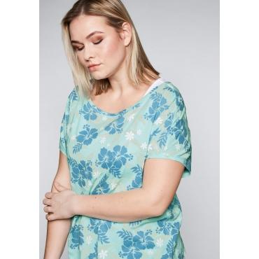 Shirt im Lagenlook mit Blumendruck, eistürkis, Gr.44-58