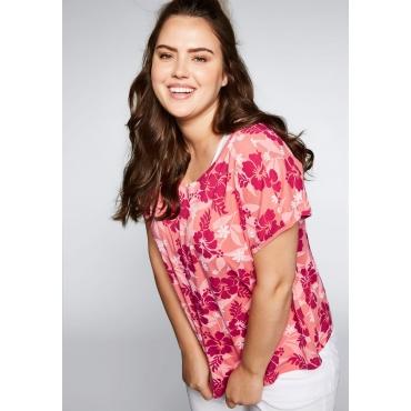 Shirt im Lagenlook mit Blumendruck, korallrot, Gr.44-58