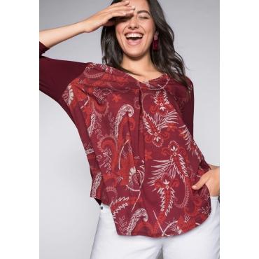 Shirt im Materialmix mit tiefem Ausschnitt, rubinrot, Gr.44/46-56/58