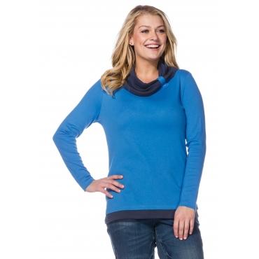 Shirt in 2-in-1-Optik mit weitem Kragen, bleu-marine, Gr.40/42-56/58