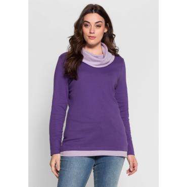 Shirt in 2-in-1-Optik mit weitem Kragen, lila-flieder, Gr.40/42-56/58