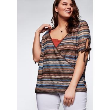 Shirt in Häkeloptik mit V-Ausschnitt, braun gemustert, Gr.44/46-56/58