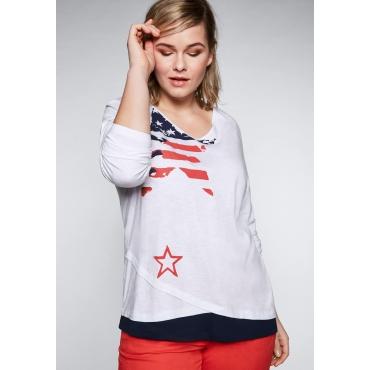 Shirt in Lagenoptik mit Sterndruck, weiß, Gr.44/46-56/58
