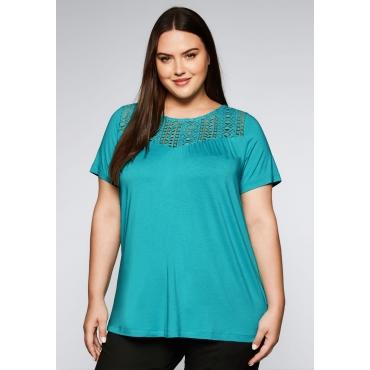 Shirt in leichter A-Linie mit Spitze, karibiktürkis, Gr.44/46-56/58