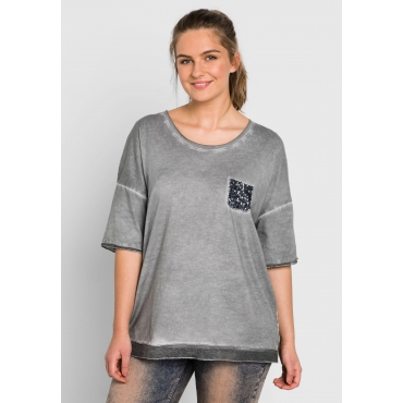 Shirt in Oversize-Form, steingrau, Gr.44/46-56/58