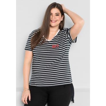 Shirt in Ringel-Optik, schwarz-weiß, Gr.44/46-56/58