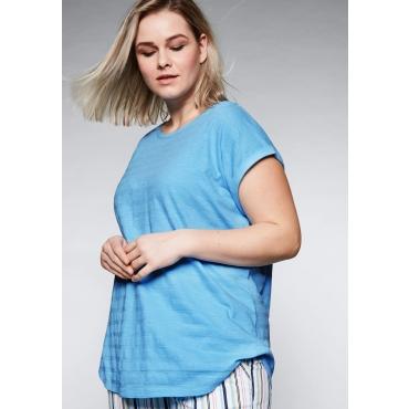 Shirt in strukturierter Qualität mit rundem Ausschnitt, himmelblau, Gr.44/46-56/58
