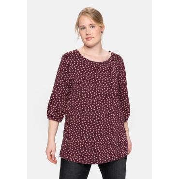 Shirt mit 3/4-Ärmeln und Alloverdruck, burgund, Gr.40/42-56/58