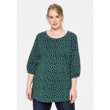 Shirt mit 3/4-Ärmeln und Alloverdruck, tiefgrün, Gr.40/42-56/58