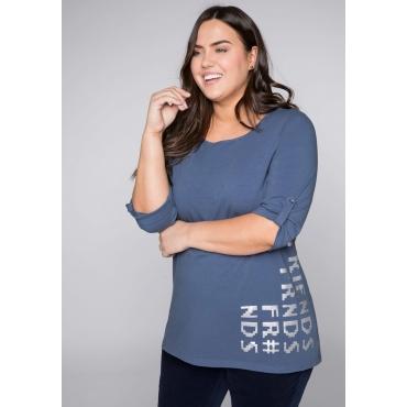 Shirt mit 3/4-Ärmeln und Frontdruck, rauchblau, Gr.44/46-56/58