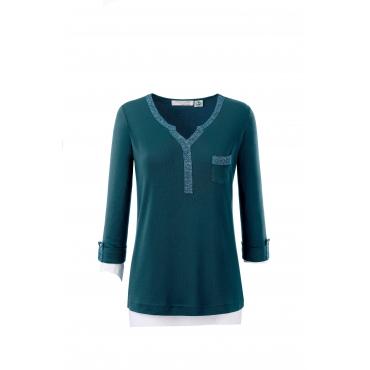 Shirt mit 3/4-Ärmeln und Glitzerband, petrol, Gr.40-54