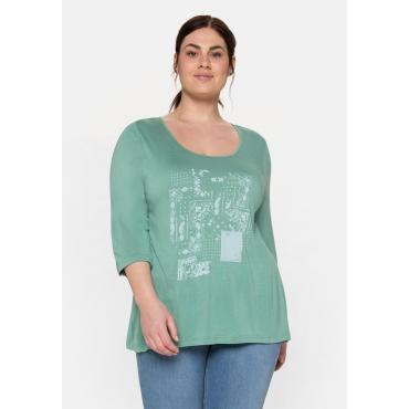 Shirt mit 3/4-Arm und Frontdruck, aus Flammgarn, salbeigrün, Gr.40/42-56/58