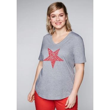 Shirt mit 3D-Rubberprint und V-Ausschnitt, grau meliert, Gr.44/46-56/58