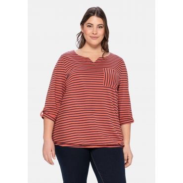 Shirt mit 3/4-Arm, Brusttasche und Ringeln, rostrot, Gr.40/42-56/58