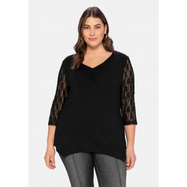 Shirt mit Ärmeln aus Spitze, mit zipfeligem Saum, schwarz, Gr.40/42-56/58