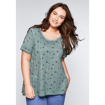 Shirt mit Allover-Ausbrennerdruck, eukalyptus, Gr.44/46-56/58