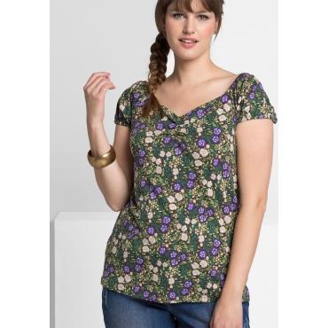 Shirt mit Alloverdruck, grün bedruckt, Gr.40/42-56/58