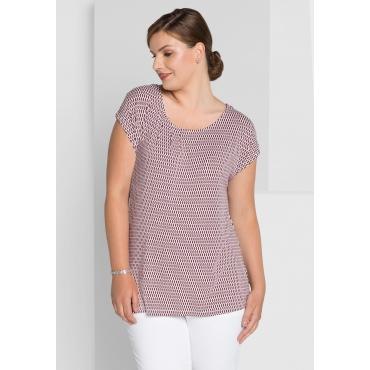 Shirt mit Alloverdruck und Rundhalsausschnitt, barolo-weiß, Gr.40/42-56/58