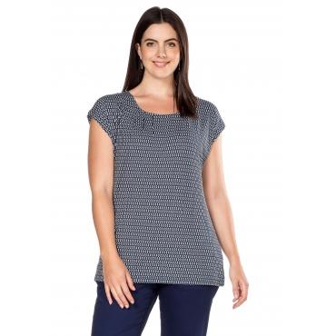 Shirt mit Alloverdruck und Rundhalsausschnitt, marine-weiß, Gr.40/42-56/58