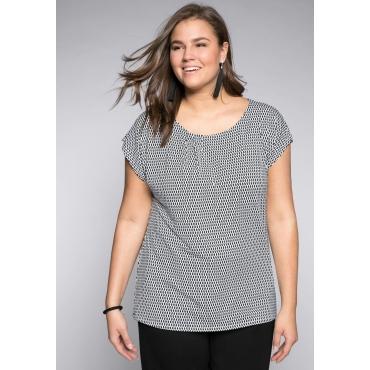 Shirt mit Alloverdruck und Rundhalsausschnitt, schwarz-weiß, Gr.44/46-56/58