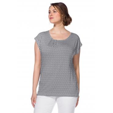 Shirt mit Alloverdruck und Rundhalsausschnitt, weiß-marine, Gr.40/42-56/58