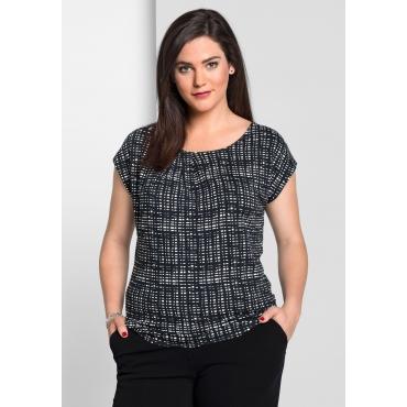 Shirt mit Alloverdruck und überschnittenem Arm, schwarz-weiß, Gr.40/42-56/58