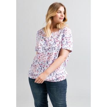 Shirt mit Alloverdruck, weiß-cremerosé, Gr.44/46-56/58