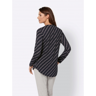 Shirt mit Alloverprint und Reißverschluss, schwarz-lila bedruckt, Gr.40-52