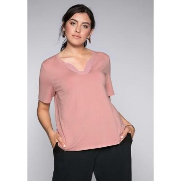Shirt mit Blende aus Chiffon am Ausschnitt, rosenquartz, Gr.44/46-56/58
