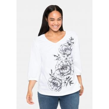 Shirt mit Blumendruck, in leichter A-Linie, weiß, Gr.40/42-56/58