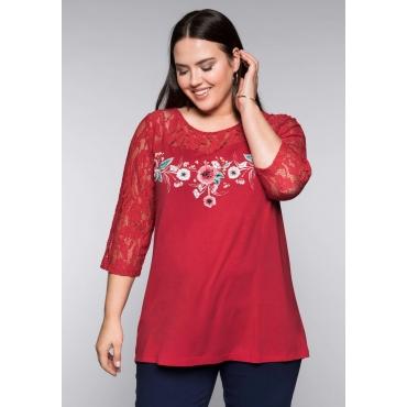 Shirt mit Blumendruck und Spitze, melone, Gr.44/46-56/58
